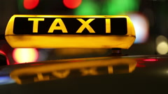 Taxi (Cab) driving with motion blur and city lights in 1080p FullHD Stock Footage