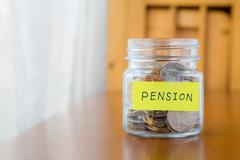 pension and retirement income - stock photo
