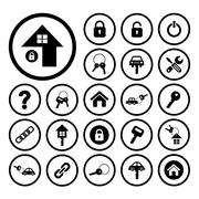 home key and car key symbol - stock illustration