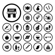 food and drink icon set - stock illustration