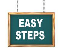 3d hanging banner - easy steps - stock illustration