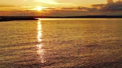 Summer sunset on nothern lake Stock Footage