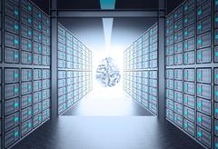 3d server room leading to metal human brain icon as concept Piirros