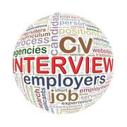 Wordcloud word tags ball of interview Stock Illustration