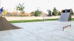 Skateboarders in the skate park - stock footage