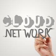 hand drawing  cloud network desogn word and diagram on the new computer inter - stock illustration