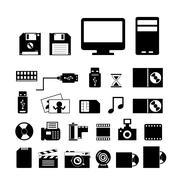 Computer and storage icons set Stock Illustration