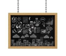 3d hanging board business drawing sketch - stock illustration