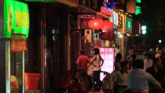 Shanghai Street Life NANJING ROAD at night 7 Stock Footage