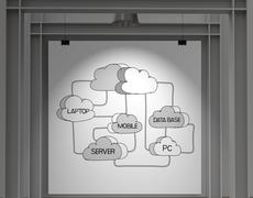 gallery wall show hand drawn cloud network diagram on poster as concept - stock illustration