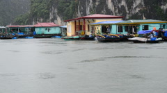 Floating Fishing Village from Boats POV - Ha Long Bay Vietnam Stock Footage