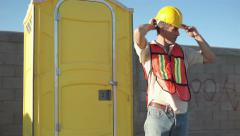 Male Construction Worker Portable Bathroom Close Stock Footage
