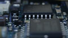 Circuit board with chips and other components Stock Footage