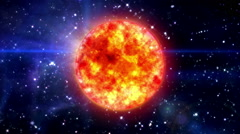 sun in blue space - stock footage