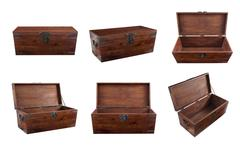 Collage of wooden chest Stock Photos