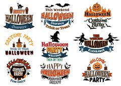 large set of halloween party vector designs - stock illustration