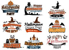 Colorful set of vector happy halloween designs Stock Illustration