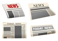 set of four folded vector newspapers - stock illustration