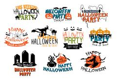 halloween party and happy halloween designs - stock illustration