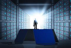 engeneer business man in 3d network server room as concept - stock illustration