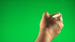 Hand Signing With A Pen On A Green Screen, Chroma, Key, Gesture, Detail - stock footage