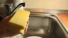 Hand Putting Dish Soap On A Sponge, House, Cleaning, Chore, Point Of View - stock footage