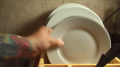 Hands Removing Dishes From The Dish Dryer, House, Chore, Front Shot Stock Footage
