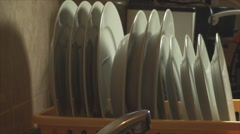 Hands Removing Dishes From The Dish Dryer, House, Chore, Side Shot Stock Footage