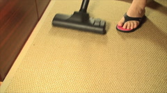 Vacuum Cleaner On A Bamboo Carpet, Cleaning, House, Chore, Pan Shot - stock footage