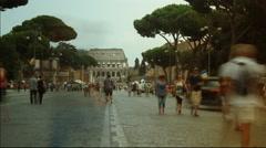 View on Via dei Fori Imperiali street  in Rome.time lapse,4k Stock Footage