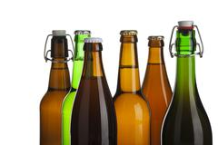 Six tops of beer bottles Stock Photos