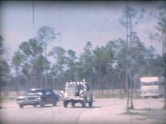 8MM USA Florida animal reserve rangers jeep 1965 Stock Footage