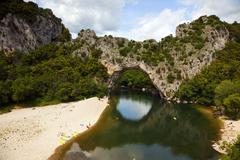 pont d'arc at the ardèche river - stock photo