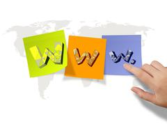 hand drawn www. on sticky notes and world map background as internet concept - stock illustration