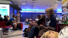 Passengers in the Departure lounge at the Palermo International Airport Stock Footage