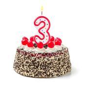 birthday cake with burning candle number 3 - stock photo