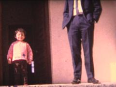 8MM baby first steps with dad on a stairs - stock footage