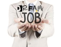 Businessman hand show design words dream job as concept Stock Illustration