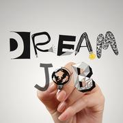 Close up of hand drawing design words dream job as concept Stock Illustration