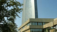 Gewandhaus and panorama tower Leipzig Stock Footage