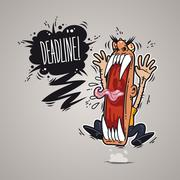 Angry boss screaming deadline. Stock Illustration