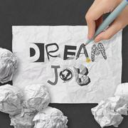 Hand drawing design words dream job as concept Stock Illustration