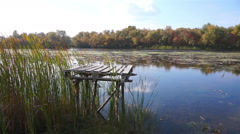 Place for fishing on the river. Stock Footage