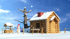 Animation of Classic Wooden House in a Wintry Landscape in Day and Night Stock Footage
