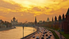 Sunset over Moscow Kremlin and river embankment. Time-lapse. Stock Footage