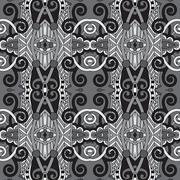 Grey geometry vintage floral seamless pattern Stock Illustration