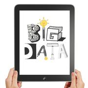 Hnad hold black tablet pc computer with hand drawn text big data on display Stock Illustration