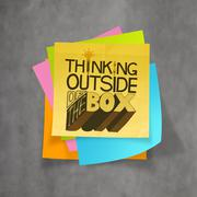 Hand drawn thinking outside of the box on sticky note and texture background  Stock Illustration