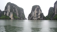 Time Lapse of Boats POV on a Rainy Foggy Day in Ha Long Bay Vietnam Stock Footage