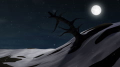 Big Old Dead Tree on Wintry Landscape at Night with Moonlight Stock Footage